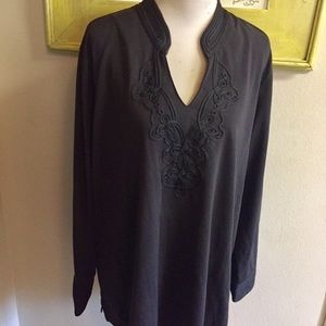 Lane Bryant long tunic top embroidered black Sz 26